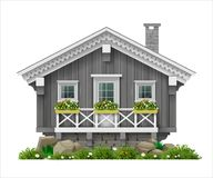 Traditional Finnish Scandinavian wooden house. A hotel or a sauna. House for greeting card or illustration. Vector graphics Stock Photo