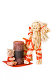 Traditional finnish straw toy, candle and tiger. Symbol of next year, isolated royalty free stock photos