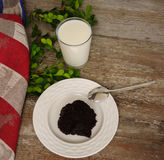 Traditional finnish and Swedish Easter food - pudding, mammi, rye pudding with milk. Traditional finnish and Swedish Easter food - pudding, mammi, rye pudding Royalty Free Stock Photography