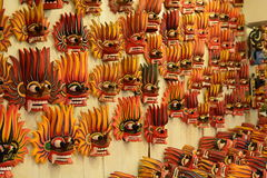 Traditional fire devil wooden masks on sale. Kandy. Sri Lanka Royalty Free Stock Photography