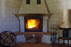 Traditional fireplace Royalty Free Stock Photography