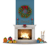 Traditional fireplace with christmas decorations. On white - 3D Rendering Royalty Free Stock Photography