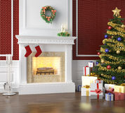 Traditional fireplace decorated for. Fireplace in a traditional home decorated for christmas with xmas tree and lots of presents Royalty Free Stock Photo