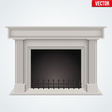 Traditional fireplace flat style design Stock Images