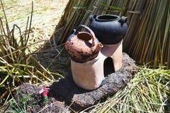 Traditional fireplace natives, Lake Titicaca, Peru Royalty Free Stock Photo