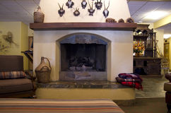 Traditional fireplace stock photography