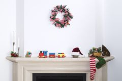 Christmas fireplace - Traditional fireplace scene in the Christmas Royalty Free Stock Photo