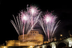 Traditional fireworks over Castel Sant' Angelo, Rome, Italy Royalty Free Stock Photography