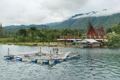 Traditional fish cage on Danau Toba Lake, Medan, Indonesia Stock Images