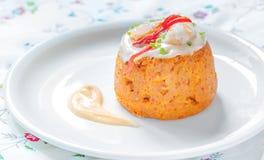 Traditional fish cake. Hake cake with tomato, shrimps and salad cream Stock Image