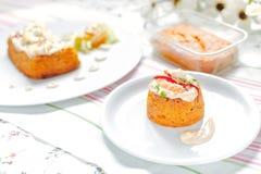 Traditional fish cake. Hake cake with tomato, shrimps and salad cream Royalty Free Stock Photo