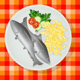 Traditional fish and chips. Traditional British fish and chips on a plate Royalty Free Stock Photography