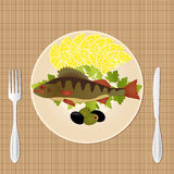 Traditional fish food. Fish and vegetables, graphic illustration of a light lunch Stock Photos