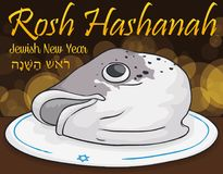 Traditional Fish Head Dish for Jewish New Year, Vector Illustration Royalty Free Stock Photography