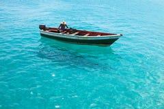 Traditional fisher boat in Santa Maria  in Sal Island in Cape Ve Stock Photos