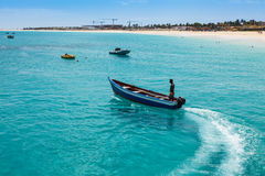 Traditional fisher boat in Santa Maria  in Sal Island in Cape Ve Royalty Free Stock Photos