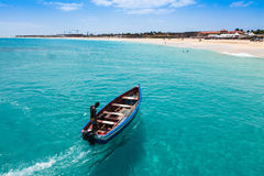 Traditional fisher boat in Santa Maria  in Sal Island in Cape Ve Stock Images