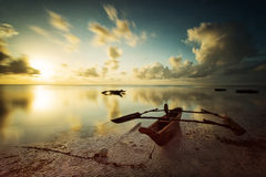 Traditional fisher boat in Zanzibar on a white beach at a beauti Stock Image