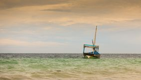 Traditional fisherboat colourful ocean waters Stock Images