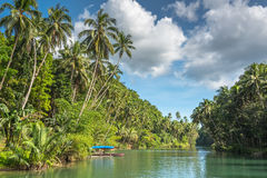 Traditional fisherman boat on a jungle green river Stock Photography