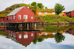 Traditional fisherman houses rorbu at Haholmen island, Norway stock photo