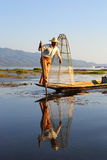 Traditional fisherman at Inle lake in Myanmar Stock Photography