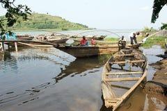 Traditional fisherman lake Kivu boat at Gisenyi stock photos
