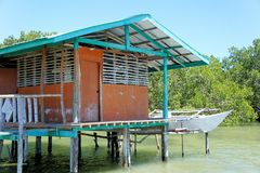 Traditional fisherman's house on stilts in the sea. Royalty Free Stock Images