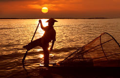 Fisherman, Inle Lake, Myanmar Royalty Free Stock Photo