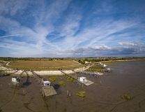 Traditional fisherman wooden hut in the estuary of Gironde, Meschers-sur-Gironde stock images