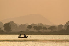 Traditional fishermen in Arugma bay lagoon, Sri lanka Stock Photography