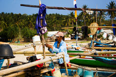 Traditional fishermen at Sawarna Beach Banten Stock Images