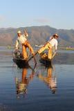 Traditional fishermen at Inle lake in Myanmar Royalty Free Stock Images