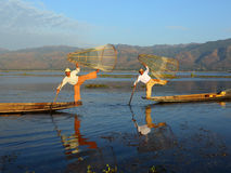 Traditional fishermen at Inle lake in Myanmar Royalty Free Stock Images