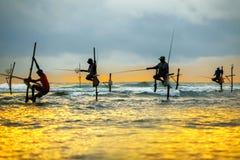 Traditional fishermen on sticks at the sunset in Sri Lanka Royalty Free Stock Image