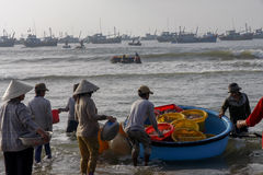 Traditional Fishermen at Vietnam Stock Photo