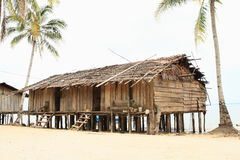 Traditional fishers houses. Made from wood on pillars in Indonesian village - Papua Barat, Indonesia Stock Images