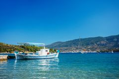 Traditional fishing boat in the aegean sea, Greece. Traditional blue fishing boat in the aegean sea, Greece royalty free stock photos