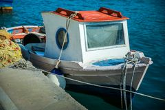 Traditional fishing boat in the aegean sea, Greece. Europe stock photography