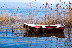 Traditional fishing boat at Doirani lake Royalty Free Stock Photography