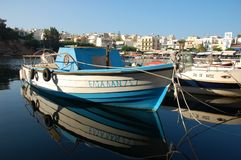 Traditional fishing boat in the greek port, Cyprus Stock Photos