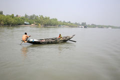 Traditional Fishing Boat In The Delta Of The Ganges River In Sundarbans Jungle, India Royalty Free Stock Image