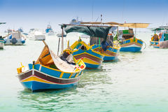 Traditional fishing boat (luzzu) in Marsaxlokk, a fishing villag Royalty Free Stock Photography