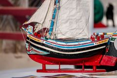 Traditional fishing boat model. Close up view of a traditional fishing boat miniature model Royalty Free Stock Images