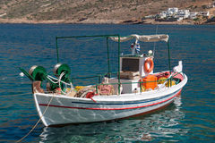 Traditional fishing boat on Mykonos island Stock Photography