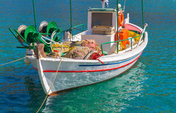 Traditional fishing boat on Mykonos island Royalty Free Stock Photography