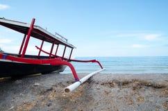 Traditional fishing boat. Trimaran in Bali, Indonesia. Stock image stock photography
