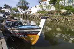 Traditional fishing boats in Alcoutim town Stock Photography