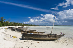 Traditional fishing boats on beach. Row of traditional fishing boats moored on sandy beach, Zanzibar Royalty Free Stock Photos