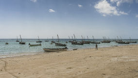 Traditional fishing boats on beach Stock Photography
